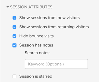 Search for sessions by notes.
